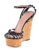 Women Gucci Caged Sandal Wedges - Black Size UK 3 US 6 EU 36