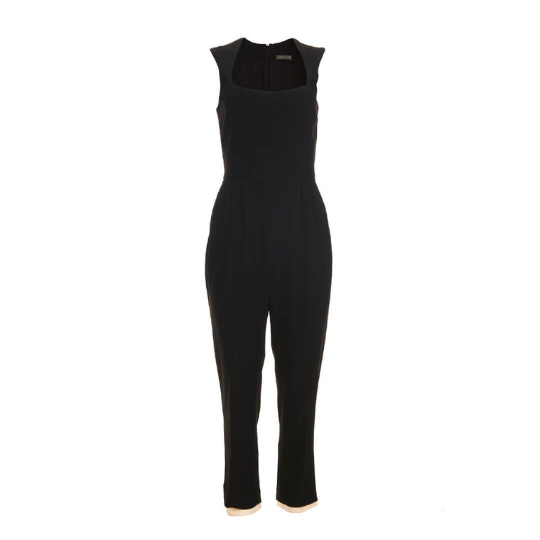 Women Alexander McQueen Satin Crepe Jumpsuit Black -  Black Size S US 4 FR 38