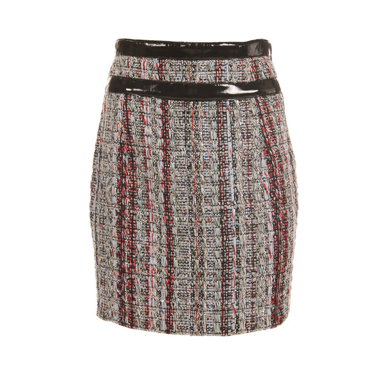 Women Alexandre Vauthier Tweed Skirt With Leather Waist - Size M  Multi US 8 FR 40