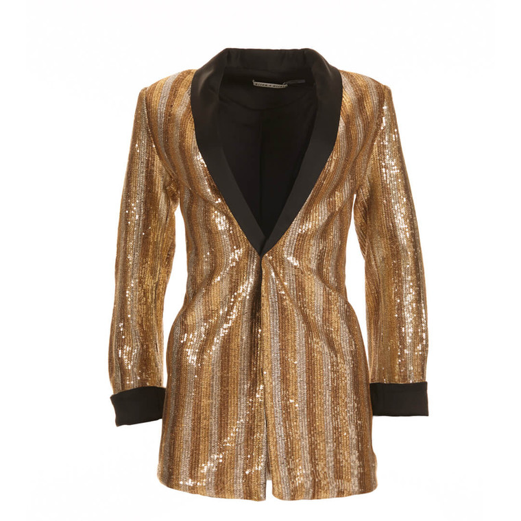 Women Alice + Olivia Gold Sequin Embroidered Blazer -  Gold Size S US 2