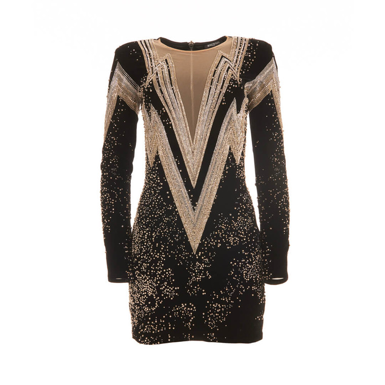 Women Balmain Crystal-Embellished Jersey Mini Dress -  Black Size S US 6 FR 38