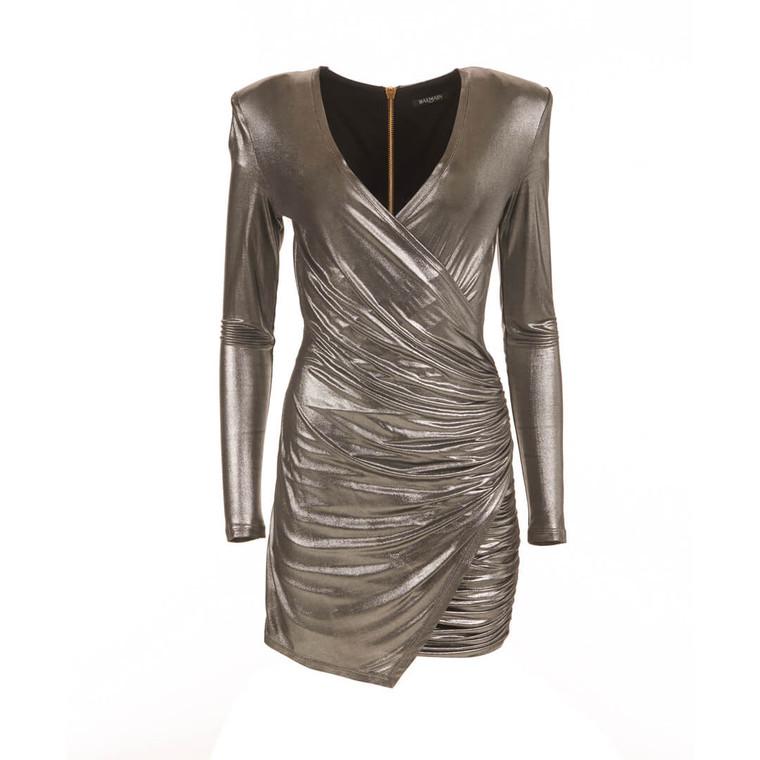 Women Balmain Slinky Silver Dress -  Silver Size S US 6 FR 38