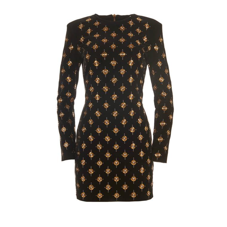 Women Balmain Gold Studded Velvet Dress -  Black Size S US 6 FR 38