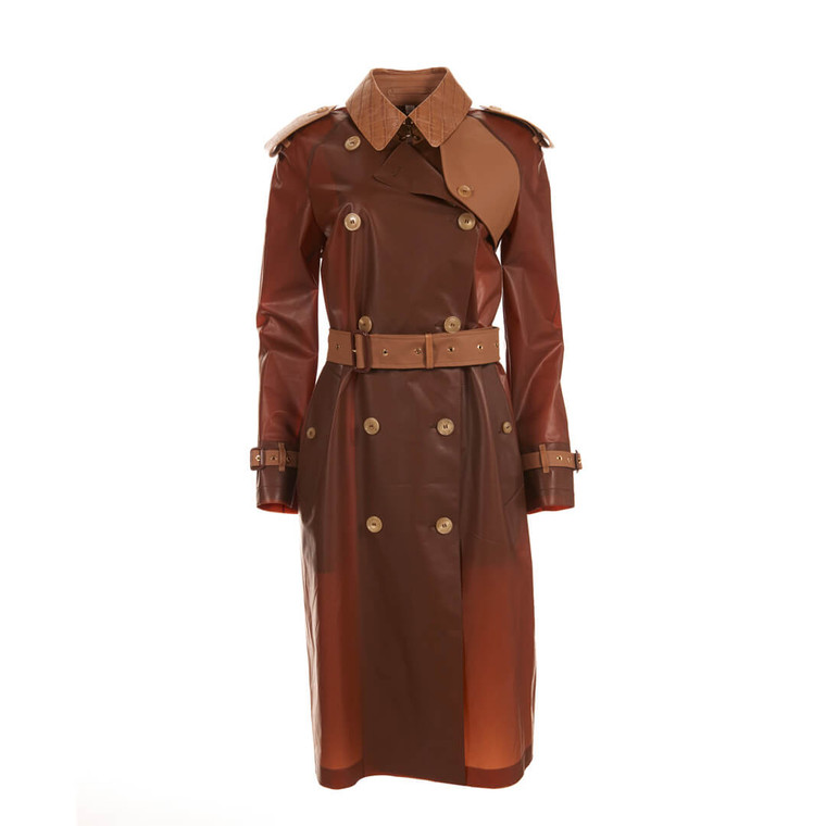 Women Burberry Rubber Crocodile Trench Coat Brown -  Brown Size S US 4 IT 40