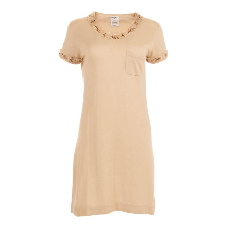 Women Chanel Silk Knit Mini Dress with Tweed Trim Beige -  Beige Size M US 8 FR 40