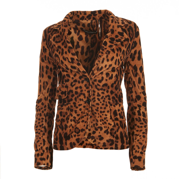 Women Dolce & Gabbana Leopard Print Corduroy Blazer - Size M  Multi US 8 IT 44
