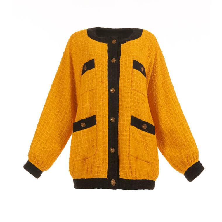 Women Gucci Oversized Tweed Jacket - Size S  Yellow US 4 IT 40