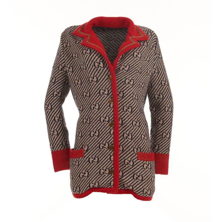 Women Gucci Oversize Monogram Stripe Wool Blend Jacket -  Multi Size XXS US 2 IT 38