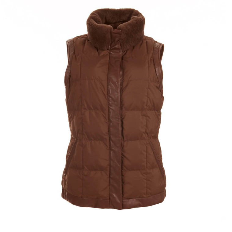 Women Loro Piana Leather Vest Jacket with Faux Fur Collar - Size S  Brown US 6 IT 42
