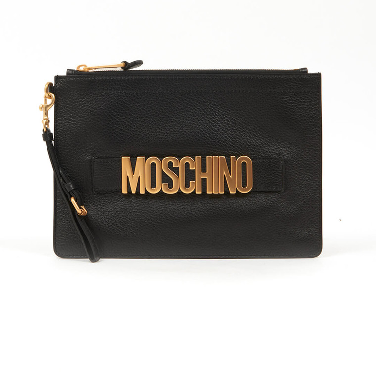 Women Moschino Grained Leather Pouch with Logo -  Black
