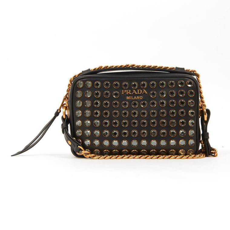 Women Prada Diagramme Studded Leather Camera Bag -  Black