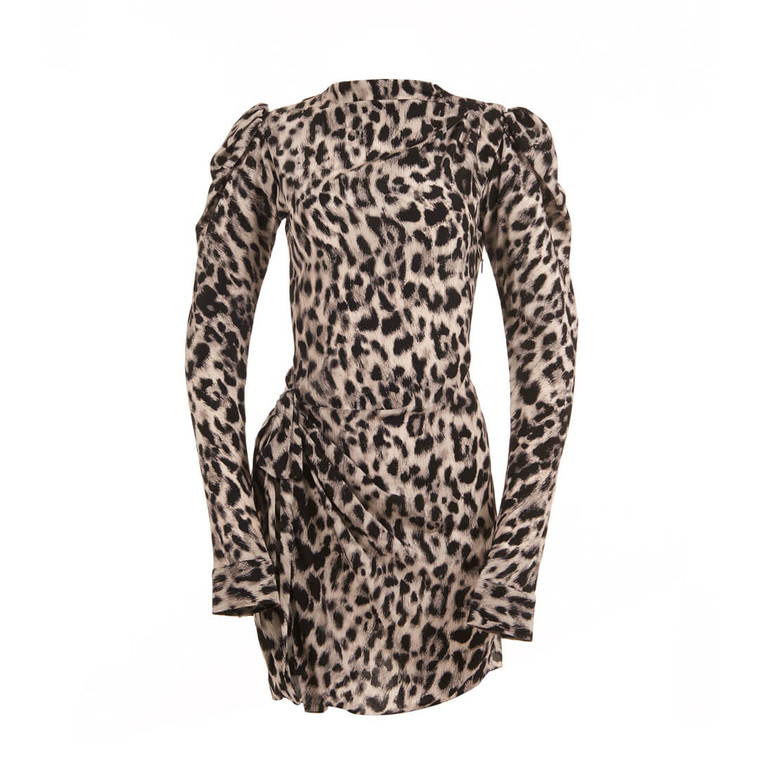 Women Saint Laurent Leopard Print Stand Up Collar Mini Dress - Size S  Grey US 6 FR 38