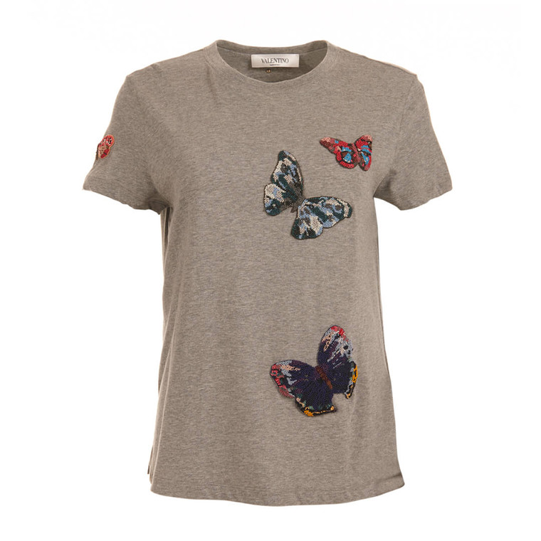 Women Valentino Butterfly Embroidered Tee -  Grey Size M US 6 IT 42