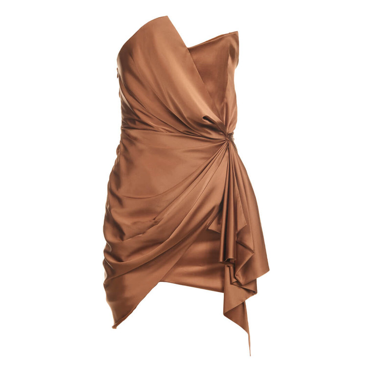 Women Alexandre Vauthier Silk Mini Dress Brown - Size M  Brown US 6 FR 38