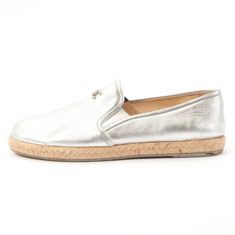 Women Chanel Silver 16s Lambskin Leather Loafer Espadrille Flats -  Silver Size 39 US 8.5 EU 39