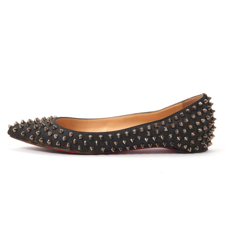 Women Christian Louboutin Pigalle Spiked Black Ballerina Flats - Size 40  Black