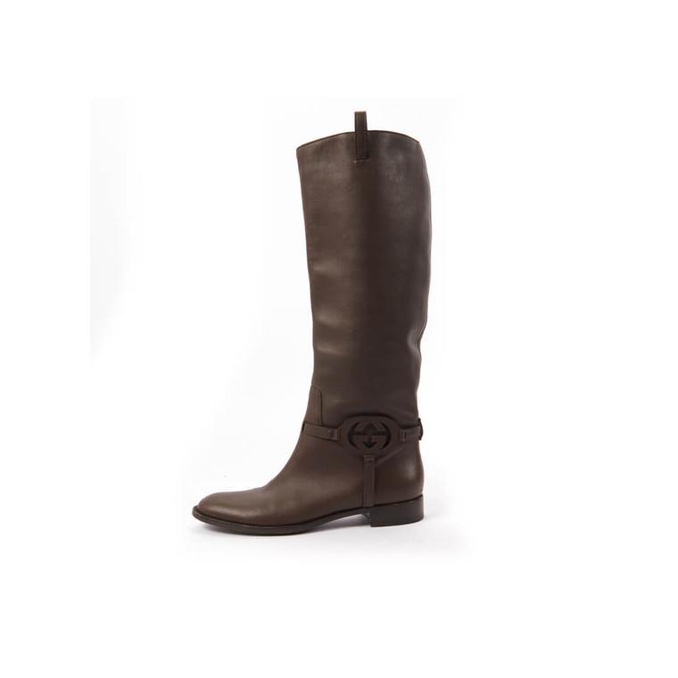 Women Gucci Calf Brown Leather 3-D Interlocking GG Riding Tall Boots -  Brown Size 39 US 8.5 EU 39