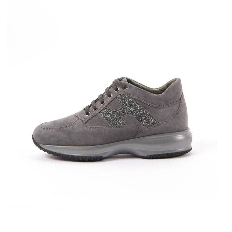 Women Hogan Interactive Low-Top Suede Sneakers - Size 38  Grey US 7.5 EU 38