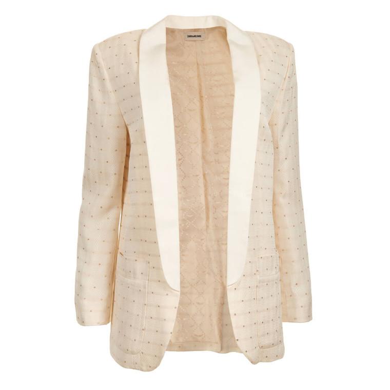 Women Zadig & Voltaire White Blazer with Gold Stars -  White Size S US 4 FR 38