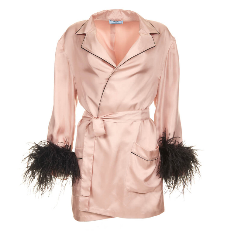 Women Prada Silk Twill Robe with Feather Cuffs Pink -  Pink Size S US 6 IT 42
