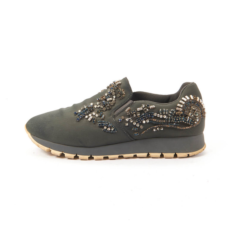 Women Prada Jewelled Slip-In Sneakers - US 6.5 EU 37  Blue