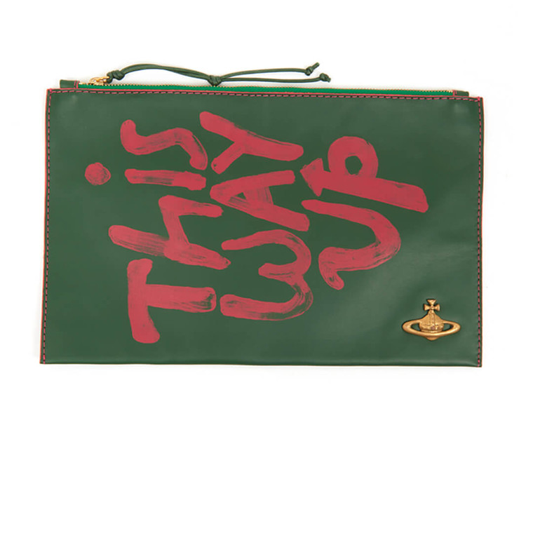 Women Vivienne Westwood Printed Leather Zip Pouch -  Green
