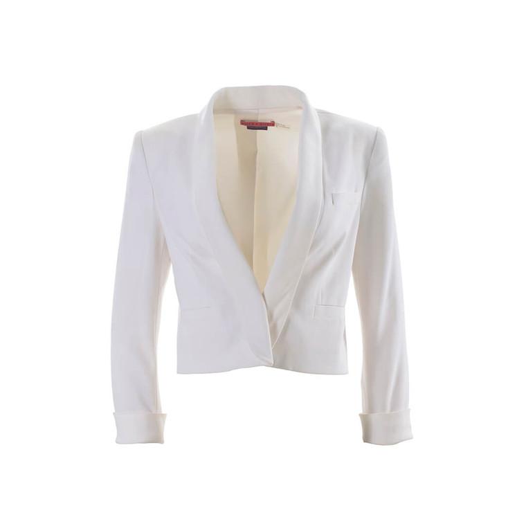 Women Alice + Olivia White Cropped Blazer - Size M  White US 6
