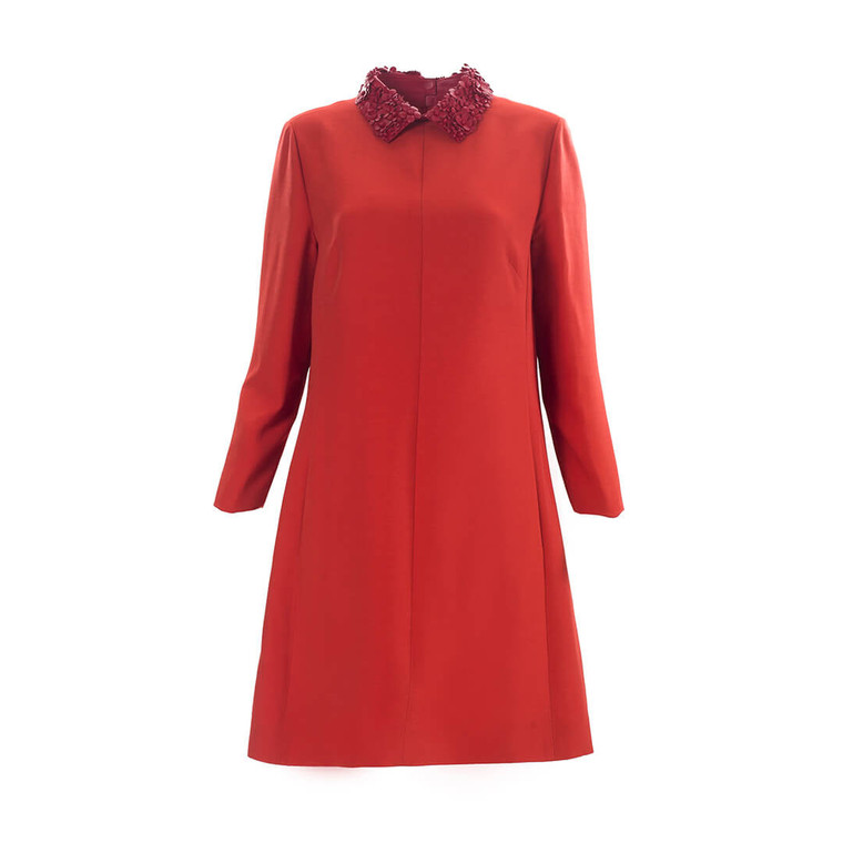 Women Valentino Leather-Collar Crepe Dress -  Red Size XL IT 48 US 12