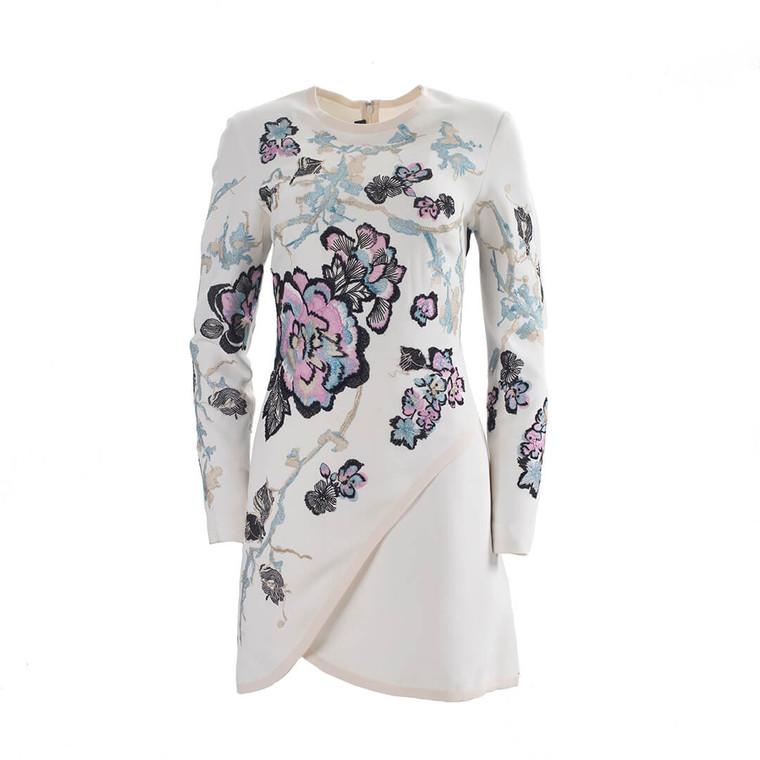 Women Elie Saab Long Sleeve Embroidered Mini Dress -  White  Multi Size M US 8 FR 40