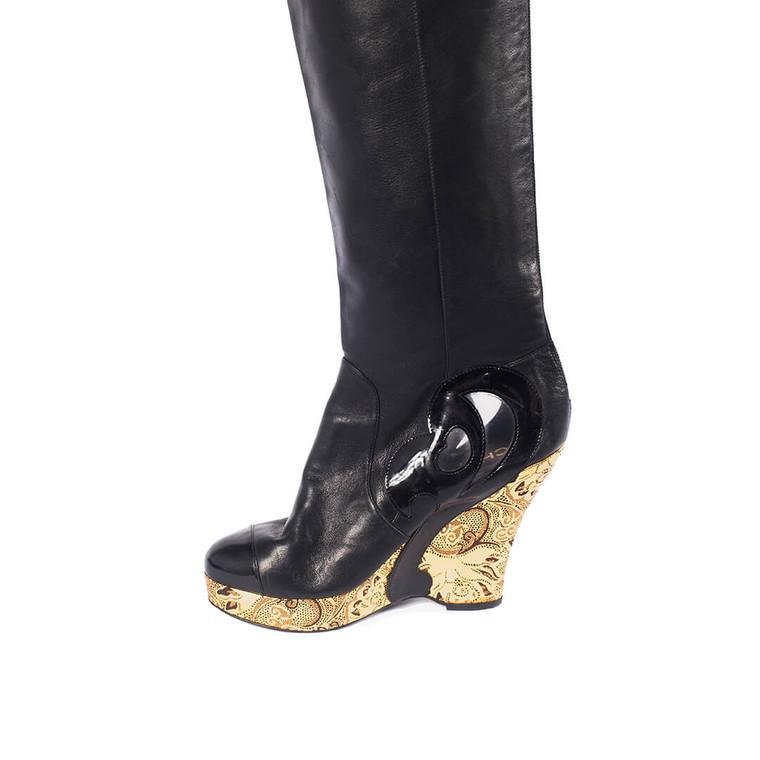 Women Chanel Black Leather Metallic Gold Brocade Wedge Thigh High Boots - Size 38  Black US 7.5 EU 38