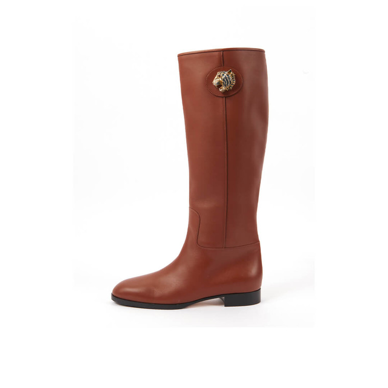 Women Gucci Leather Embellished Rosie Riding Boots - Size 39  Brown US 8.5 EU 39