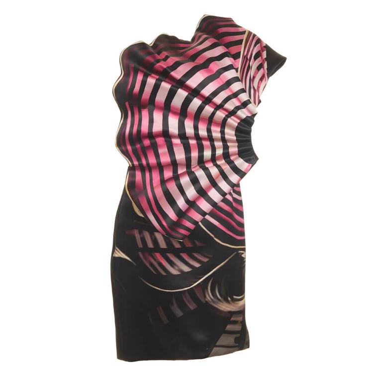 Women Mary Katranzou Silk Mini Dress with Pleated Fan -  Black  Pink  Multi Size M US 10