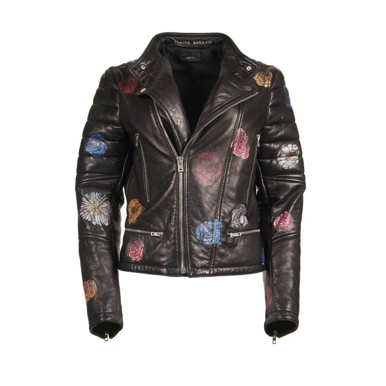 Women Joseph Leather Biker Jacket with Painted Flowers -  Black  Multi Size M US 8 UK 12