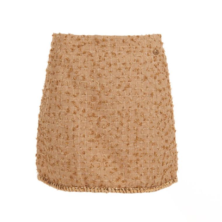 Women Chanel Bouclé Mini Skirt Beige with Gold Trim -  Beige Size M US 8 FR 40