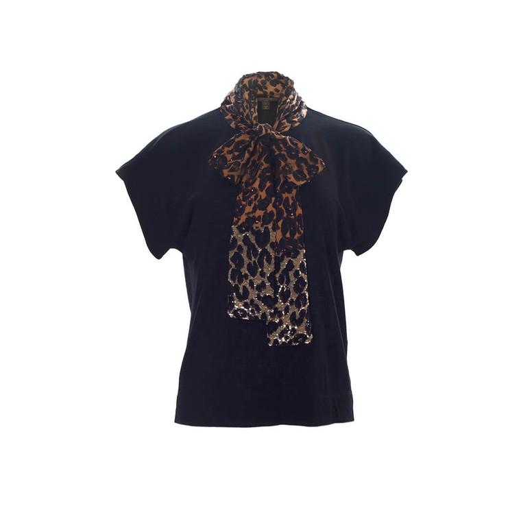 Women Louis Vuitton T-shirt with Leopard Sequined Details -  Black Size L US 10