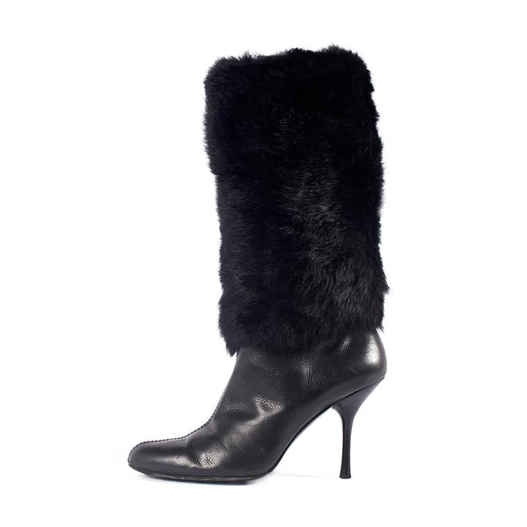 Women Gucci Fur Booties Black -  Black Size 39.5 US 9 EU 39.5