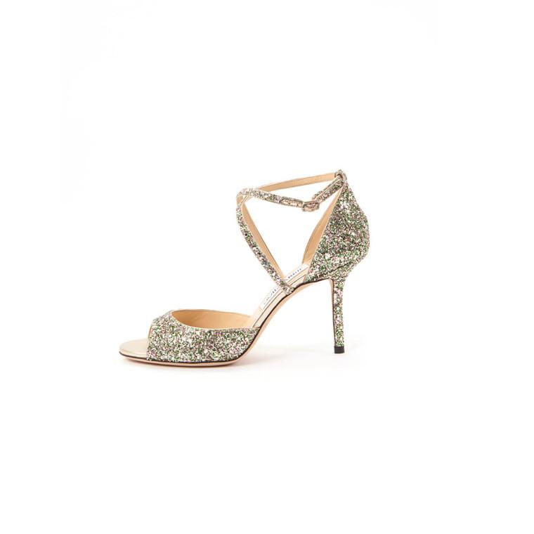 Women Jimmy Choo Emsy Glitter Sandal Pumps -  Silver  Gold Size 38 US 7.5