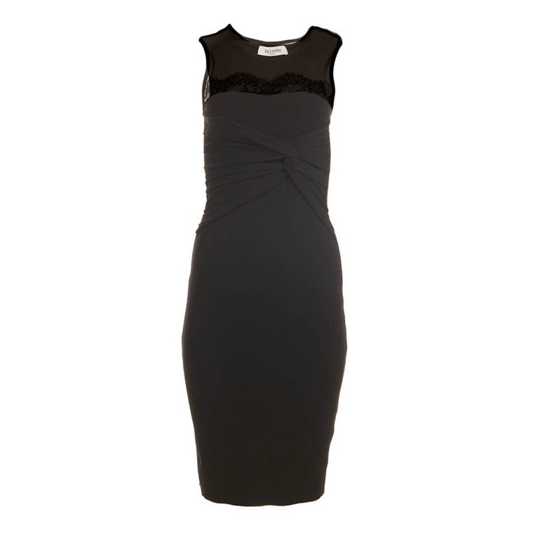 Women Valentino Black Fitted Dress with Knot Front -  Black Size XS US 2 IT 38