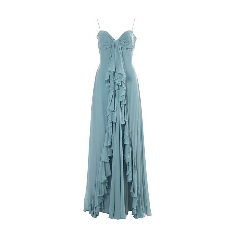 Women Elie Saab Asymmetric Ruffled Gown -  Green  Blue Size M US 8 FR 40