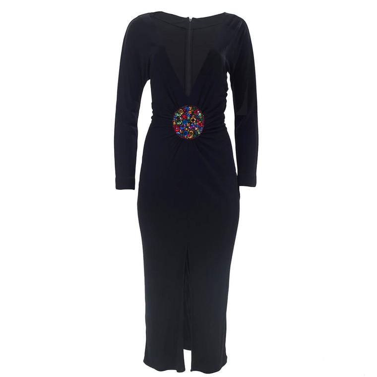 Women Dolce & Gabbana Maxi Dress with Crystal Waist Cinch -  Black Size M US 8 IT 44