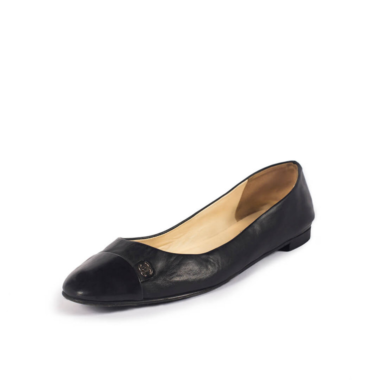 Women Chanel Classic Round Toe Ballerinas Black -  Black Size 39.5 US 9 EU 39.5