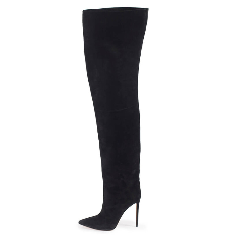 Women Alexandre Vauthier Suede Thigh-High Boots Black -  Black Size 39 US 8.5 EU 39