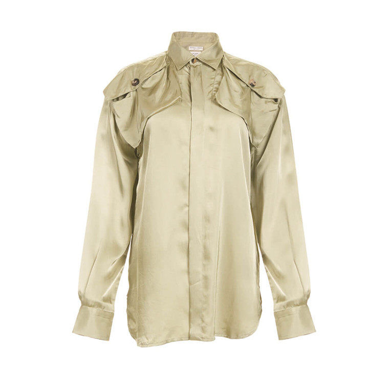 Women Bottega Veneta Satin Twill Shirt - Size S  Green US 4 IT 40