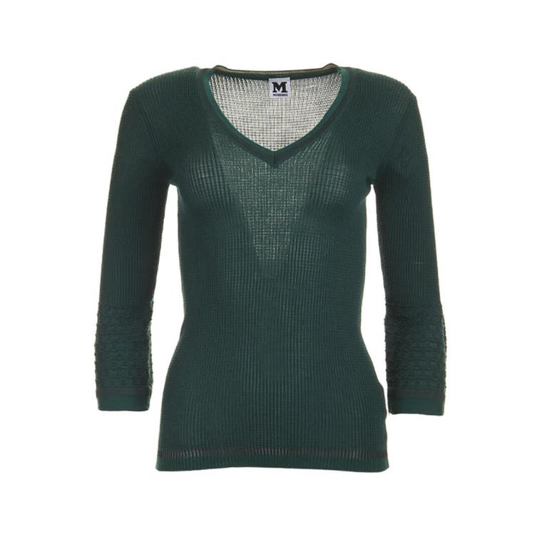 Women Missoni Long Sleeve Fitted Top Dark Green -  Green Size M IT 44 US 8