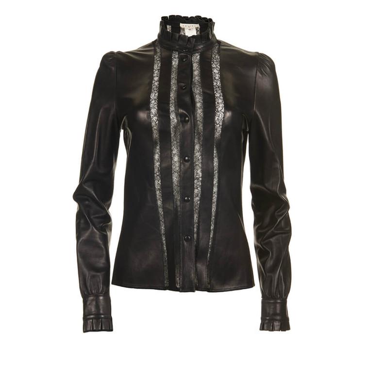 Women Céline Lambskin and Lace Button-Up Blouse - Size M  Black US 8 FR 40