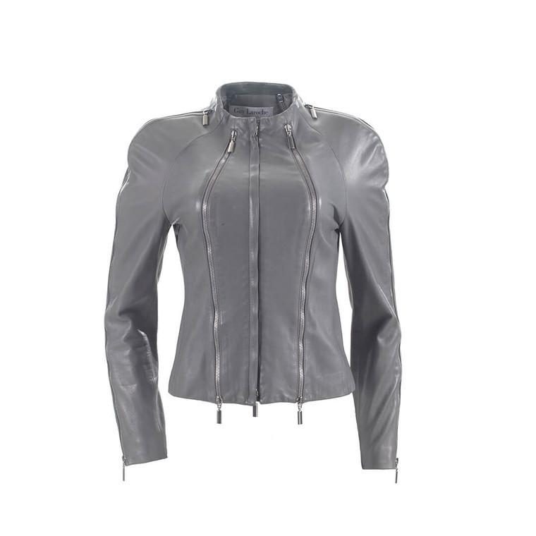 Women Guy Laroche Slim Fit Biker Jacket Grey -  Grey Size M FR 40 US 8