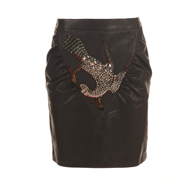 Women Gucci Crystal Embellished Leather Skirt - Size M  Black US 8 IT 44