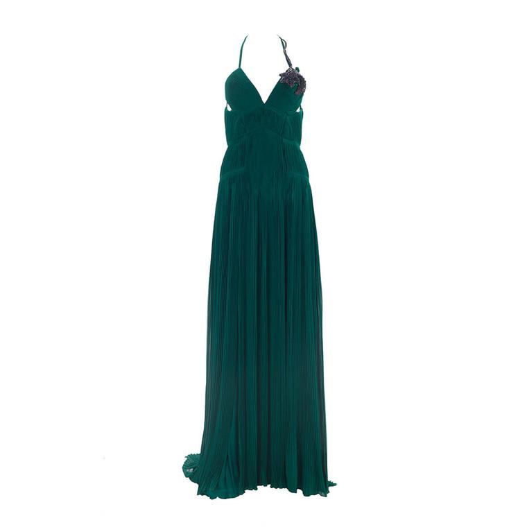 Women Roberto Cavalli Low Back Plisée Gown Dark Green - Size M  Green