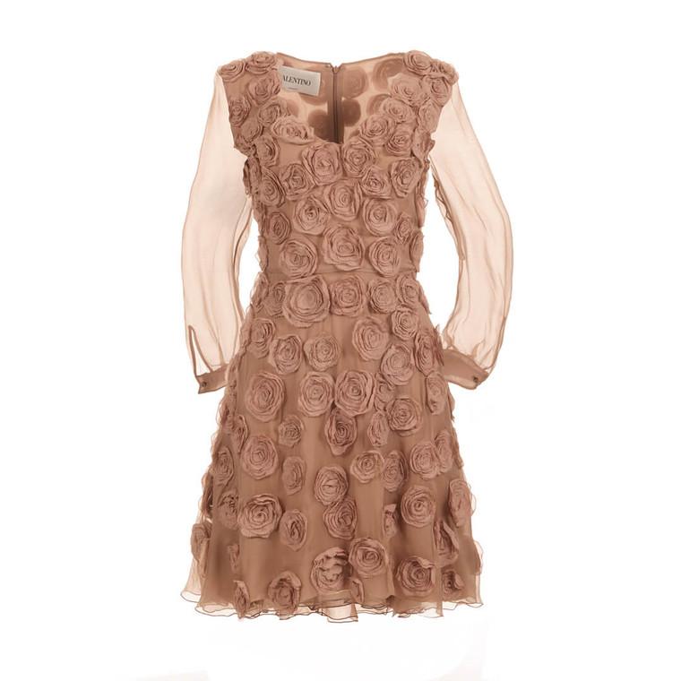 Women Valentino Appliqué Silk Rose Dress Nude -  Pink Size M US 8 IT 44