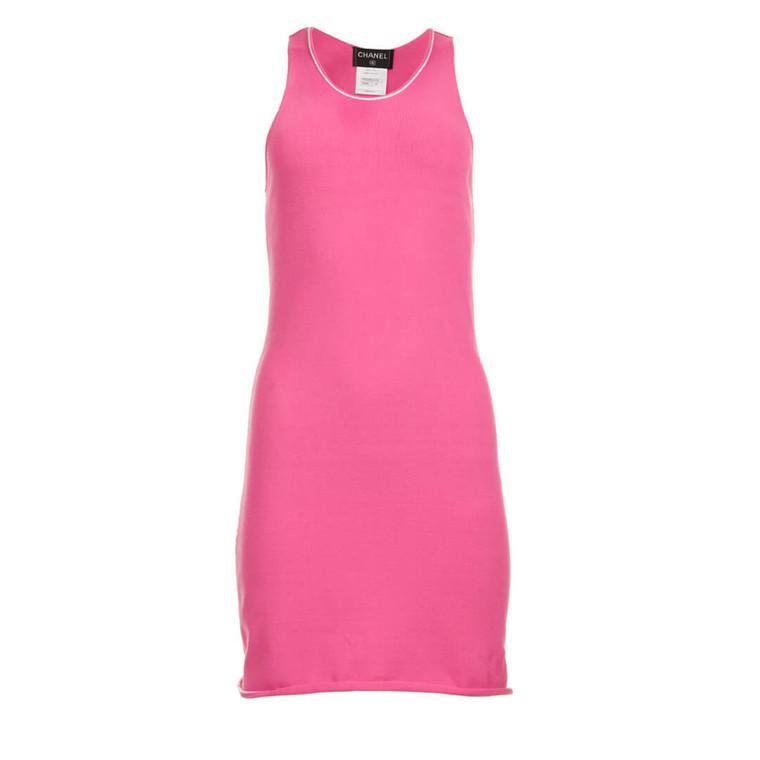 Women Chanel Camisole Knit Mini Dress Pink -  Pink Size S US 6 FR 38